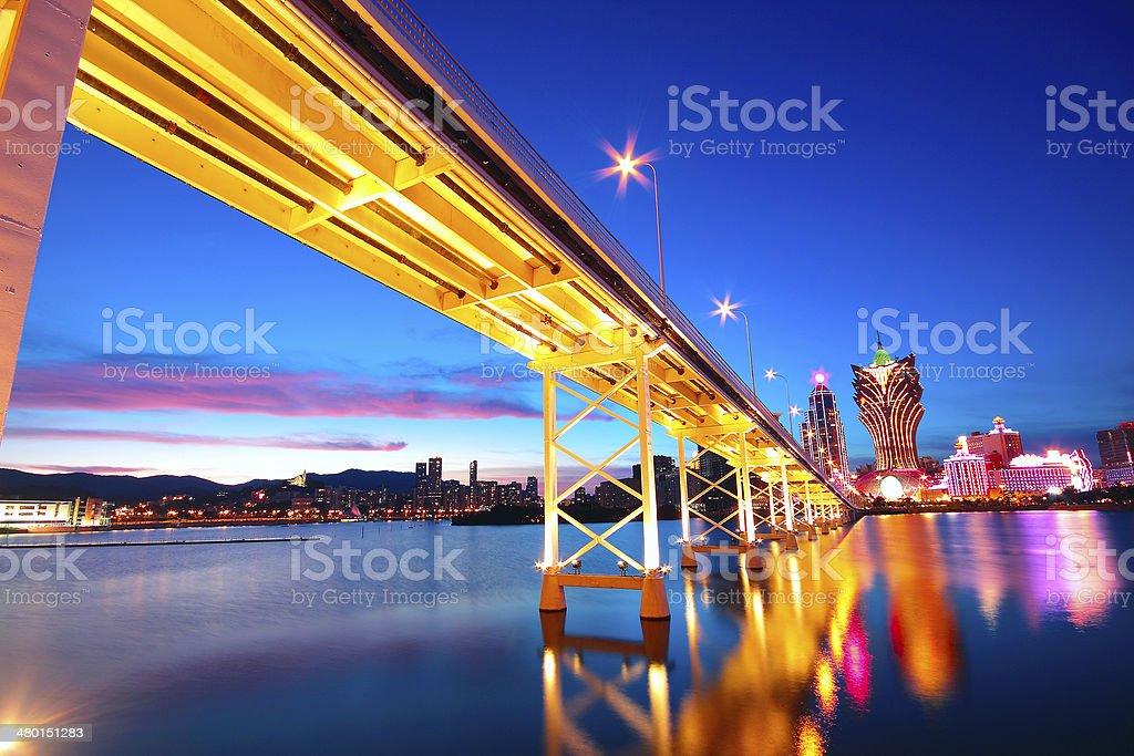 Macau cityscape of bridge and skyscraper Macao, Asia. stock photo
