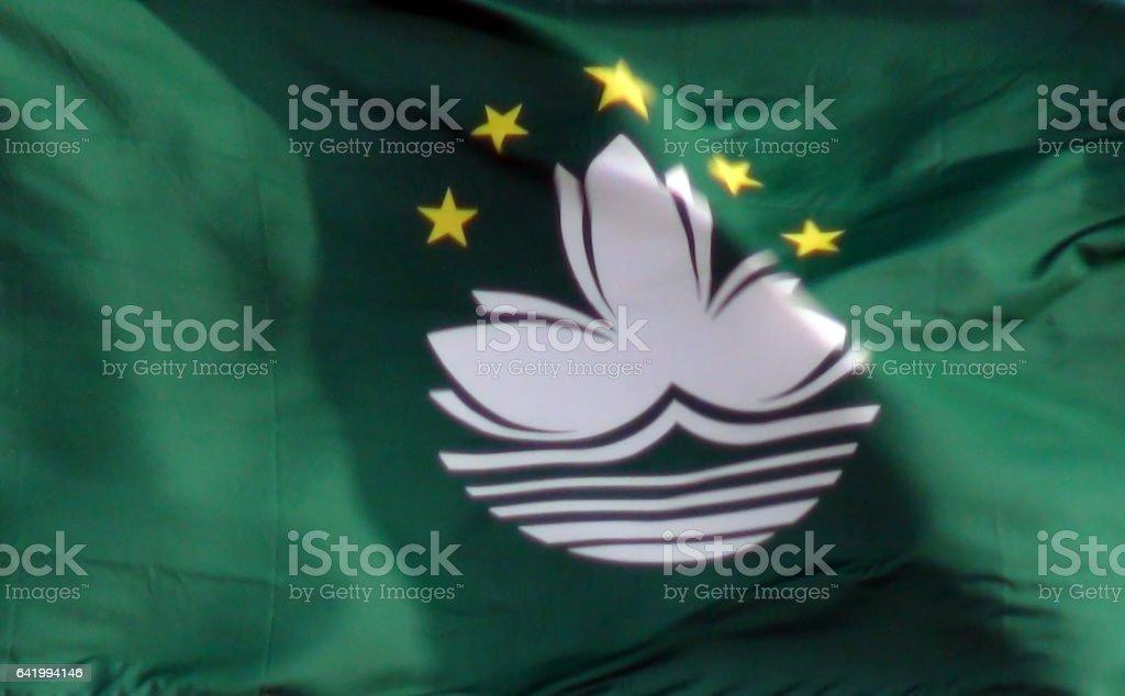 Macau Flag Waving In Macau stock photo