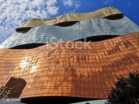 Low angle view of majestic MGM Macau facade, a 154 mt tall, 600-room casino resort in Macau peninsula.