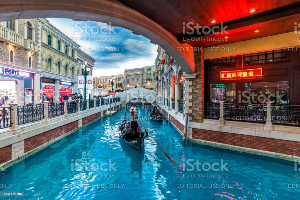 Macau Venice hotel the Grande Canale tourists and Gondola stock photo