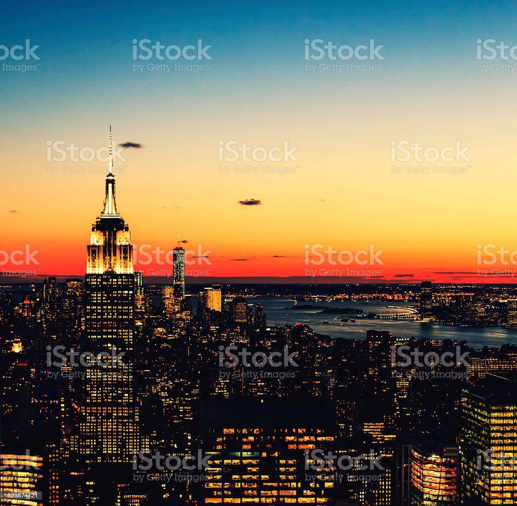 Macaw Rainbow Sunset over NYC stock photo