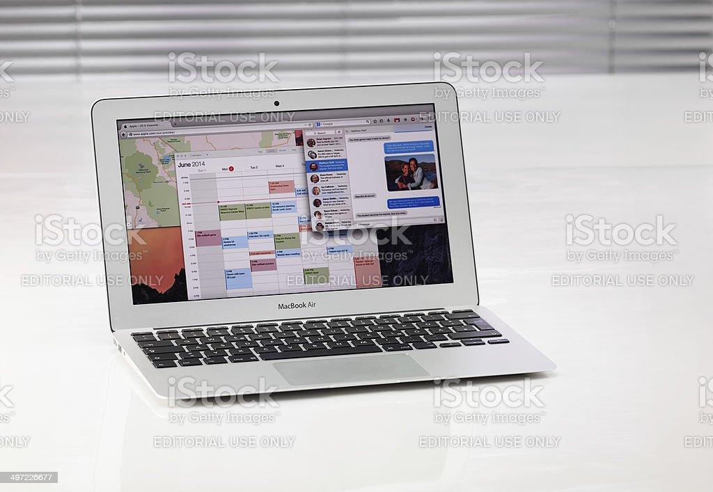 Macbook Air with Yosemite Website stock photo