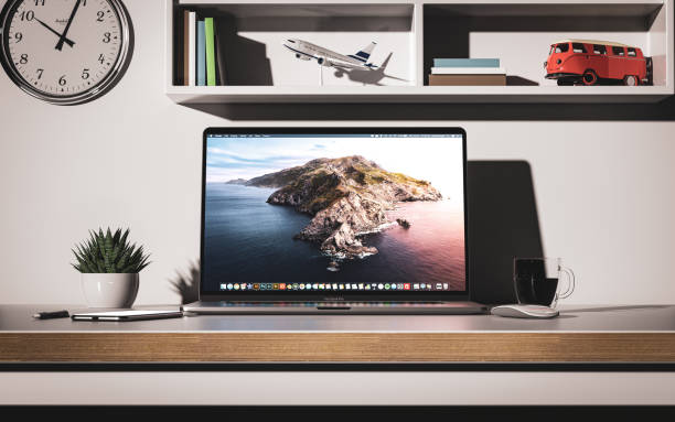 macbook pro 16 inch with touchbar front view - macbook foto e immagini stock