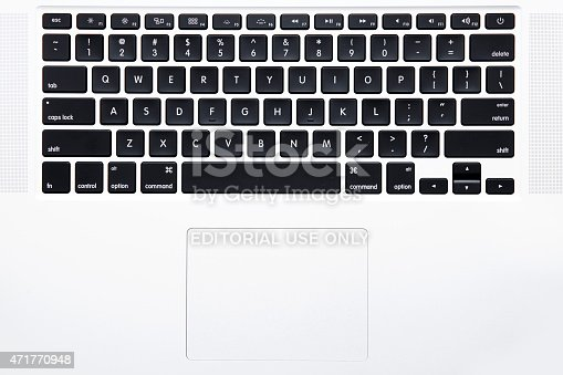 New York City, U.S.A - April 15, 2015: Top view of the keyboard of Apple MacBook Pro Notebook Computer   It is a laptop computer that produced by Apple Inc.