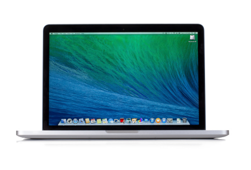 Las Vegas, USA - August 10, 2014: A isolated photo of the new 13 inch MacBook Pro Retina. The MacBook Pro is a line of Macintosh portable computers by Apple Inc.,