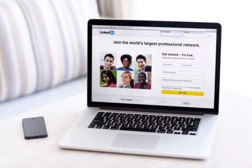 Simferopol, Russia - July 9, 2014: LinkedIn is a social network for search and establishment of business contacts. It is founded in 2002.