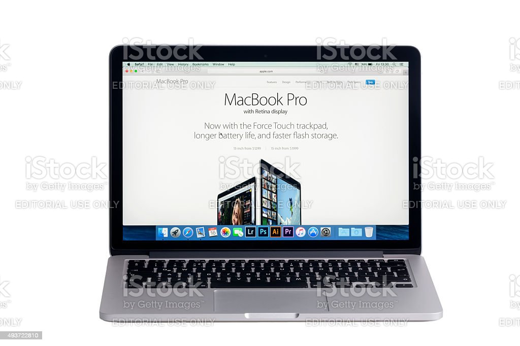 MacBook Pro Retina with MacBook Pro Page on the screen stock photo