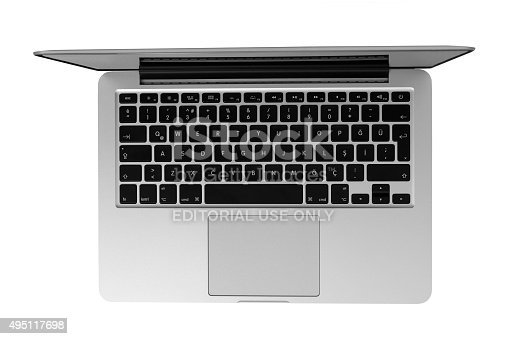 Çanakkale, Turkey - October 8, 2015: 13-inch Apple MacBook Pro With Retina Display. Isolated on white.