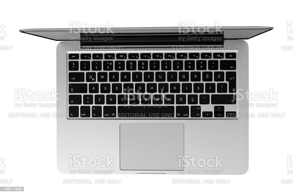Macbook Pro Retina with Yosemite 5 on the screen stock photo