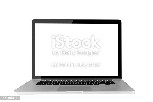 Istanbul, Turkey - August 11, 2015: Apple MacBook Pro displaying a blank white screen and clipping path. The MacBook Pro is Apple's thinnest, lightest notebook and features flash based storage so there are no internal moving parts.