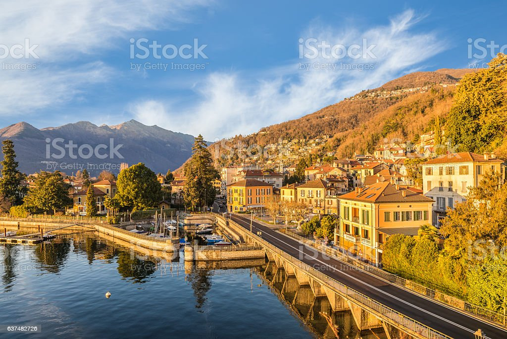 Maccagno on lake Maggiore, province of varese, Italy stock photo