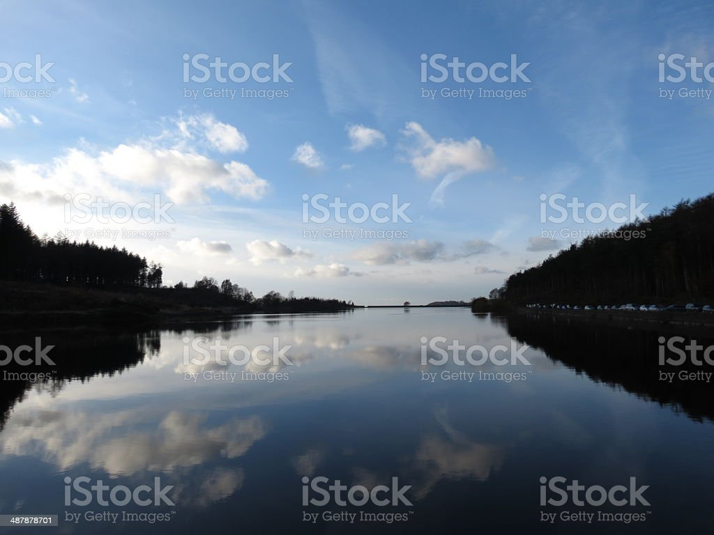Macclesfield forrest, reservoir, sunset, cheshire, england stock photo