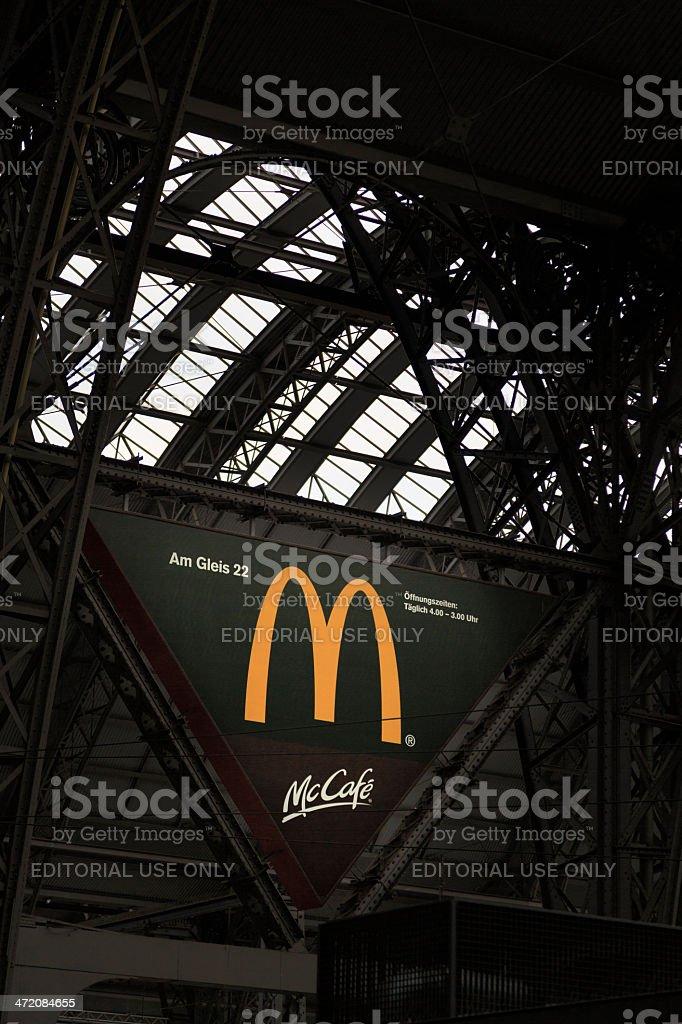 macdonald sign at train station in Frankfurt, Germany stock photo