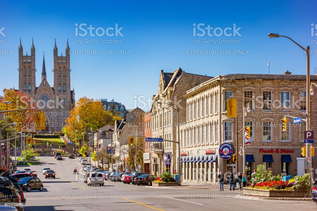 Macdonell street in Downtown Guelph Ontario Canada stock photo