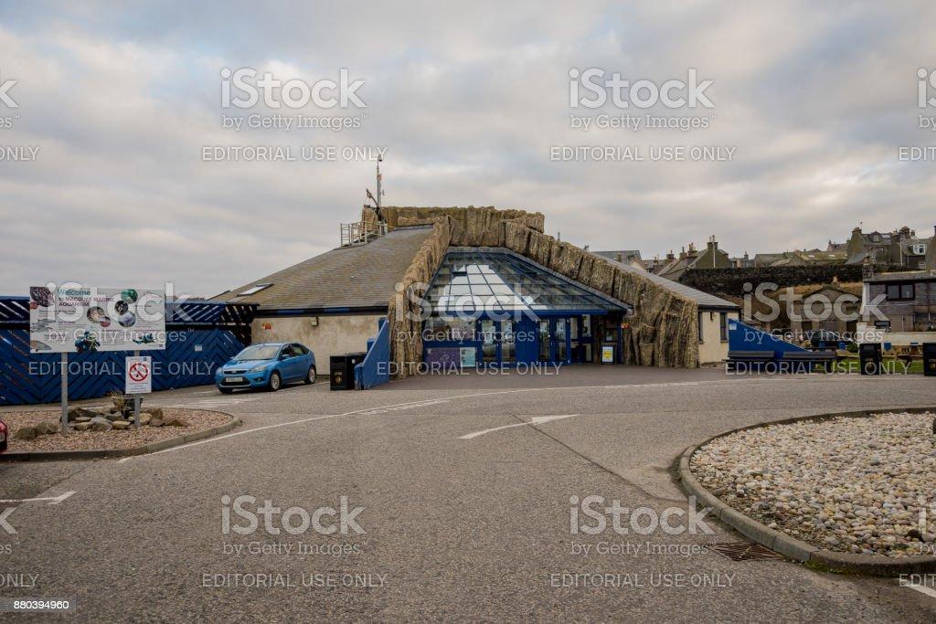 MacDuff Marine Aquarium building in Northern Scotland stock photo