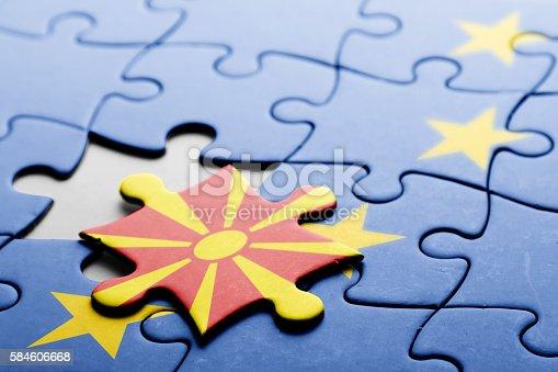 935056316 istock photo Macedonia. Accession to the European Union concept puzzle. 584606668
