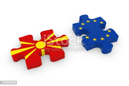 istock Macedonia and EU Puzzle Pieces Macedonian and European Flag Jigsaw 540990608