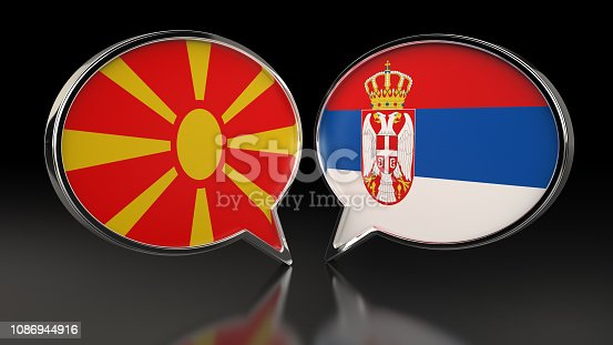 istock Macedonia and Serbia flags with Speech Bubbles. 3D illustration 1086944916