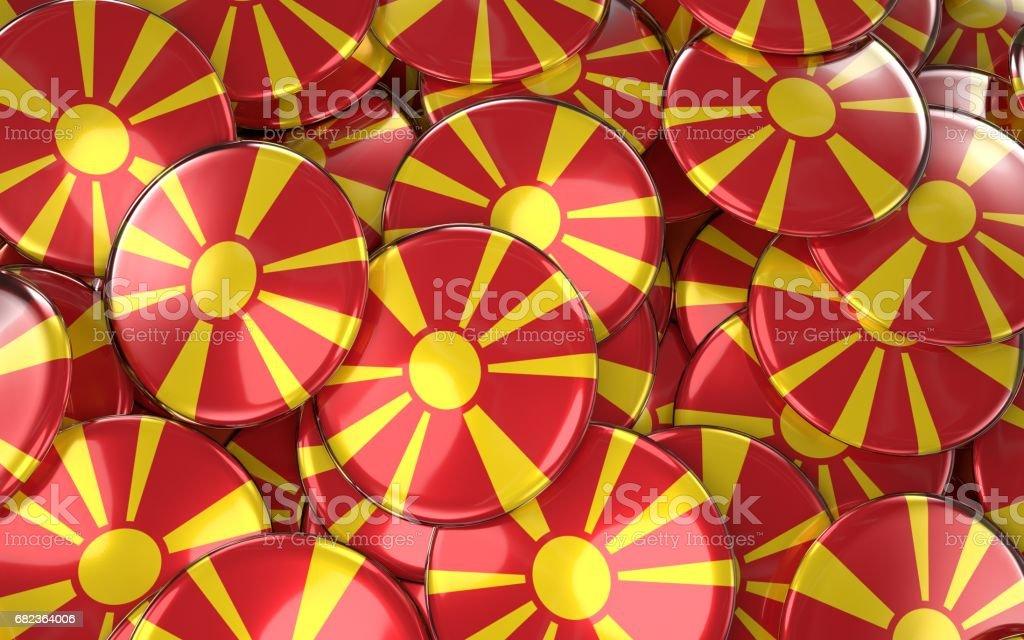 Macedonia Badges Background - Pile of Macedonian Flag Buttons. zbiór zdjęć royalty-free