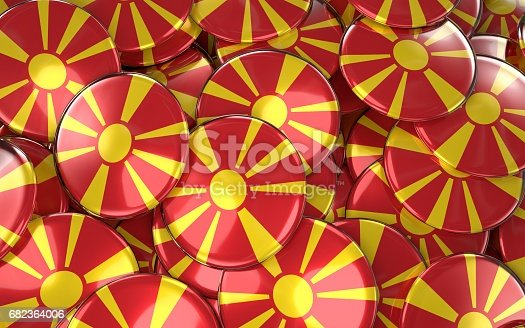 935056316 istock photo Macedonia Badges Background - Pile of Macedonian Flag Buttons. 682364006