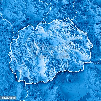 istock Macedonia Country 3D Render Topographic Map Blue Border 832101548