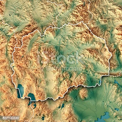 istock Macedonia Country 3D Render Topographic Map Border 832100330
