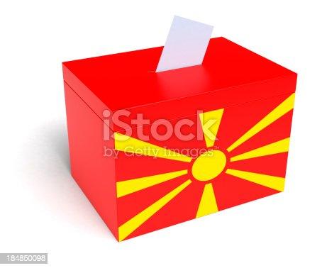 935056316 istock photo Macedonia Flag Ballot Box 184850098