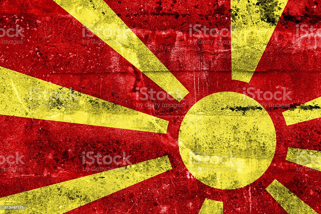 Macedonia Flag painted on grunge wall stock photo