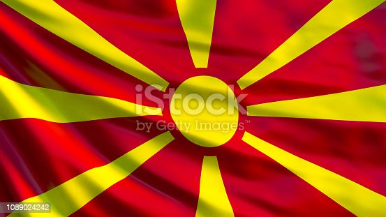 1056280906istockphoto Macedonia flag. Waving flag of Macedonia 3d illustration. Skopje 1089024242