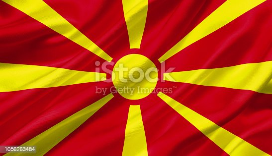 1056280906istockphoto Macedonia flag waving with the wind, 3D illustration. 1056263484