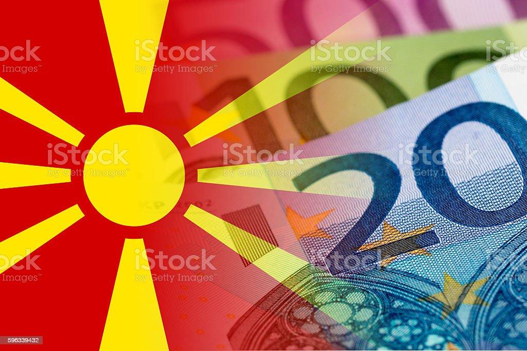 macedonia flag with euro banknotes royalty-free stock photo