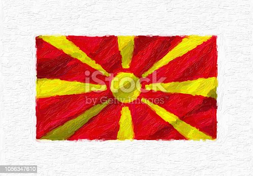 1056280906istockphoto Macedonia hand painted waving national flag, oil paint isolated on white canvas, 3D illustration. 1056347610
