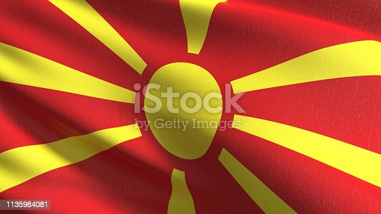 1056280906istockphoto Macedonia national flag blowing in the wind isolated. Official patriotic abstract design. 3D rendering illustration of waving sign symbol. 1135984081