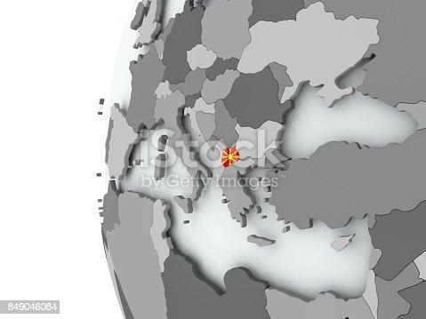 istock Macedonia on globe with flag 849046084