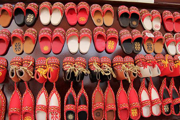 macedonia shoe souvenirs - üsküp stok fotoğraflar ve resimler