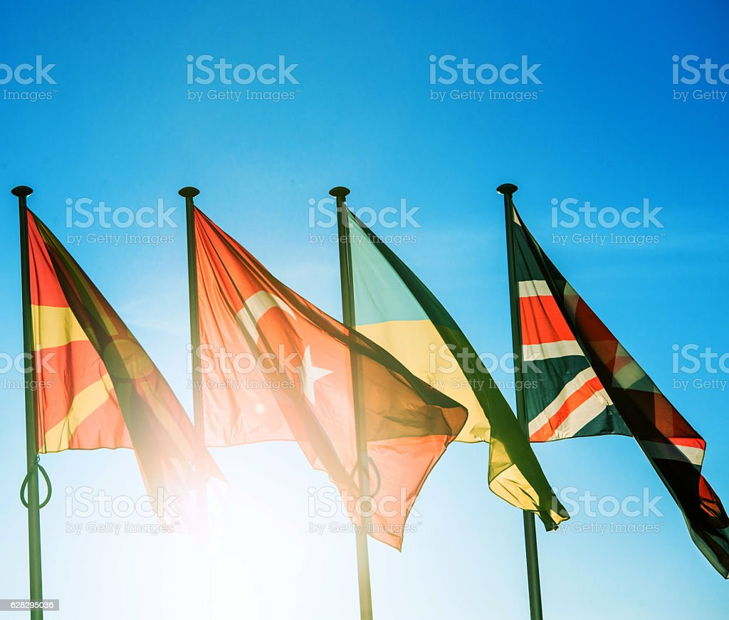 Macedonia, Turkey, Ukraine and United Kingdom flags stock photo