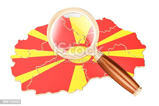 istock Macedonia under magnifying glass, analysis concept, 3D rendering isolated on white background 886183550