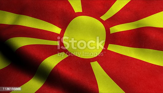 935056316 istock photo Macedonia Waving Flag in 3D 1136156866