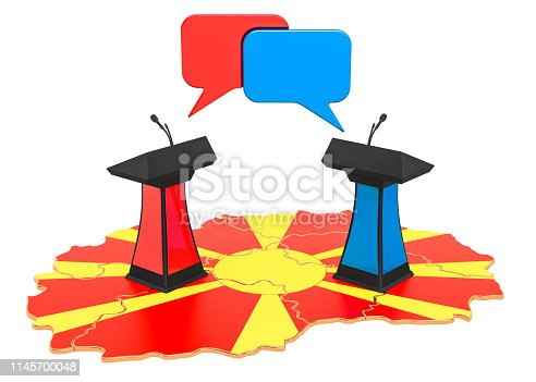 935056316 istock photo Macedonian Debate concept, 3D rendering isolated on white background 1145700048