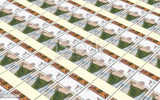 istock Macedonian denar bills stacks background. 492966338