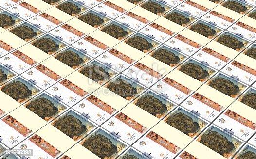 istock Macedonian denar bills stacks background. 492966398
