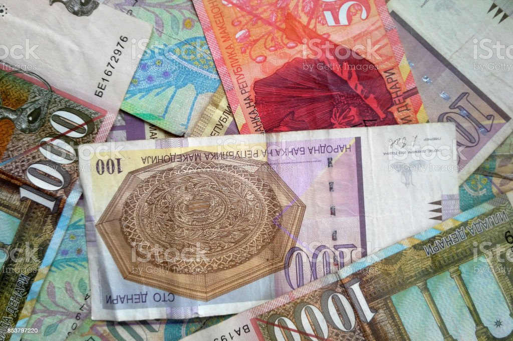 Macedonian denar money banknotes stock photo