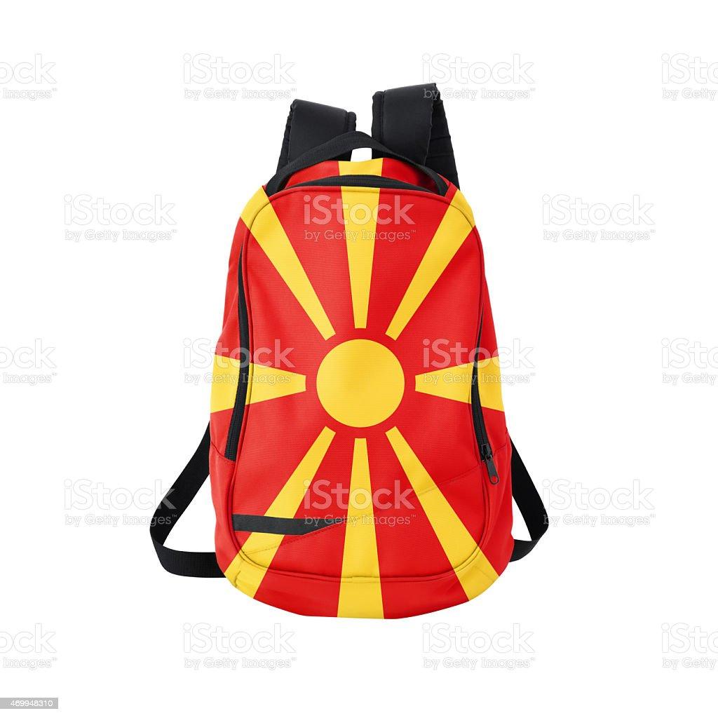 Macedonian flag backpack isolated on white stock photo