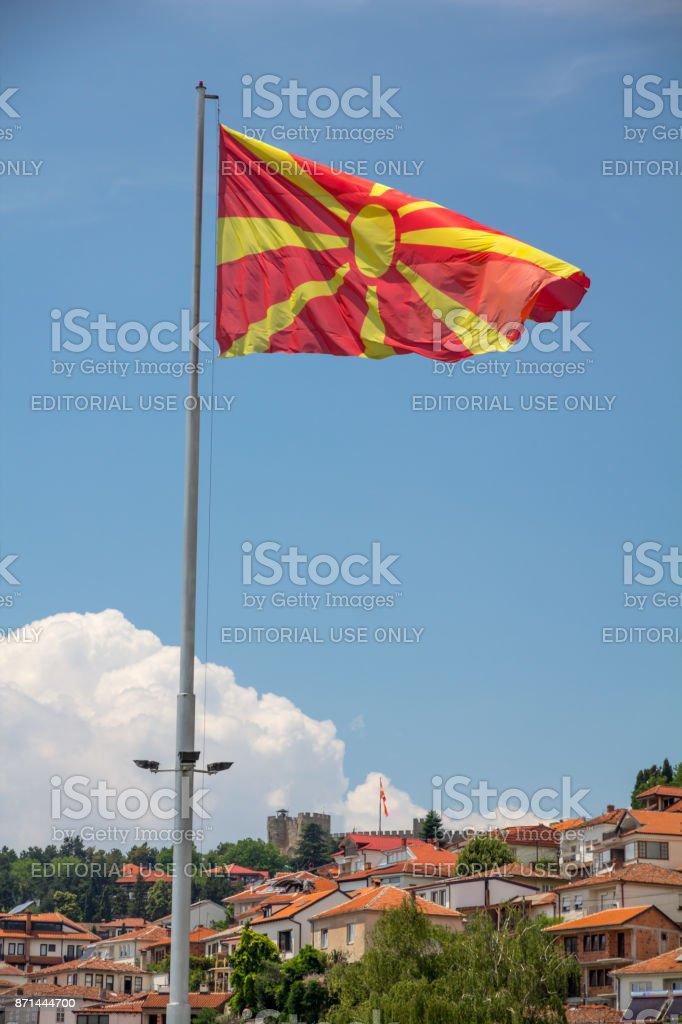 Macedonian Flag, Ohrid, Macedonia stock photo