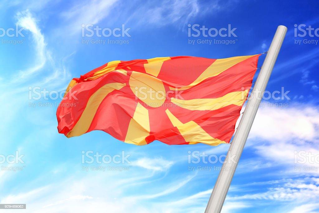 Mazedonische Flagge Lizenzfreies stock-foto