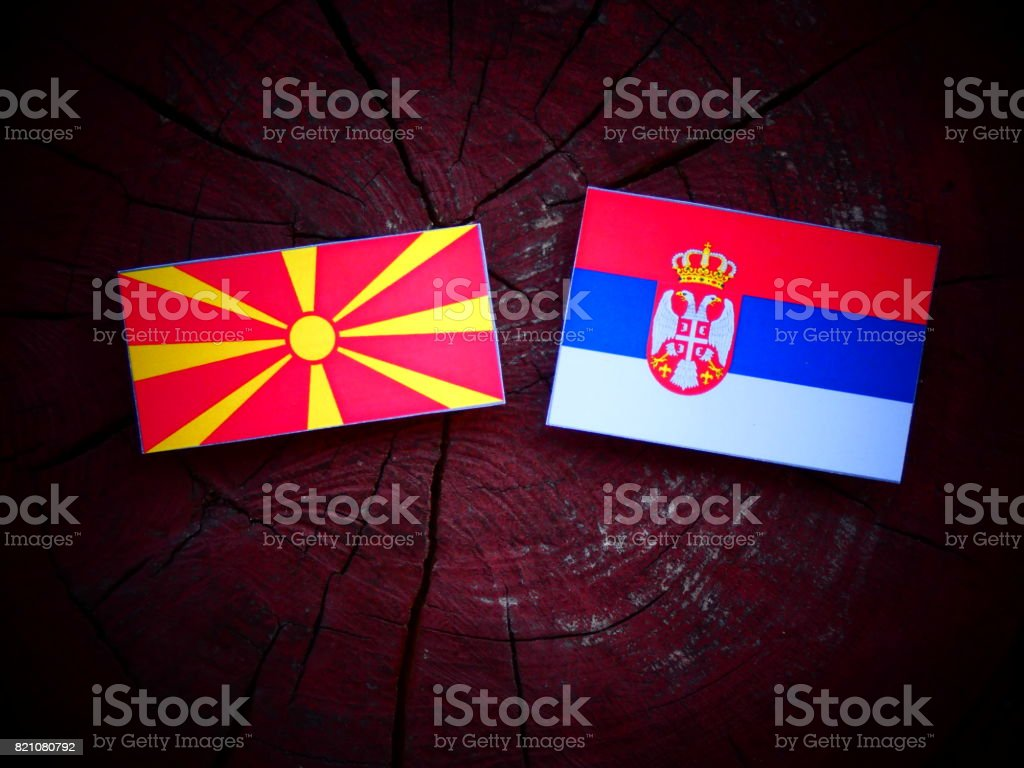 Macedonian flag with Serbian flag on a tree stump isolated - fotografia de stock