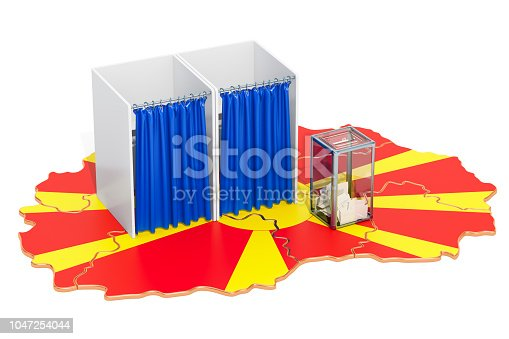 935056316 istock photo Macedonian referendum concept. Voting booths and ballot box on the Macedonian map. 3D rendering 1047254044