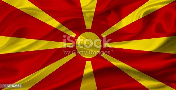 935056316 istock photo Macedonian waving flag 1043760584
