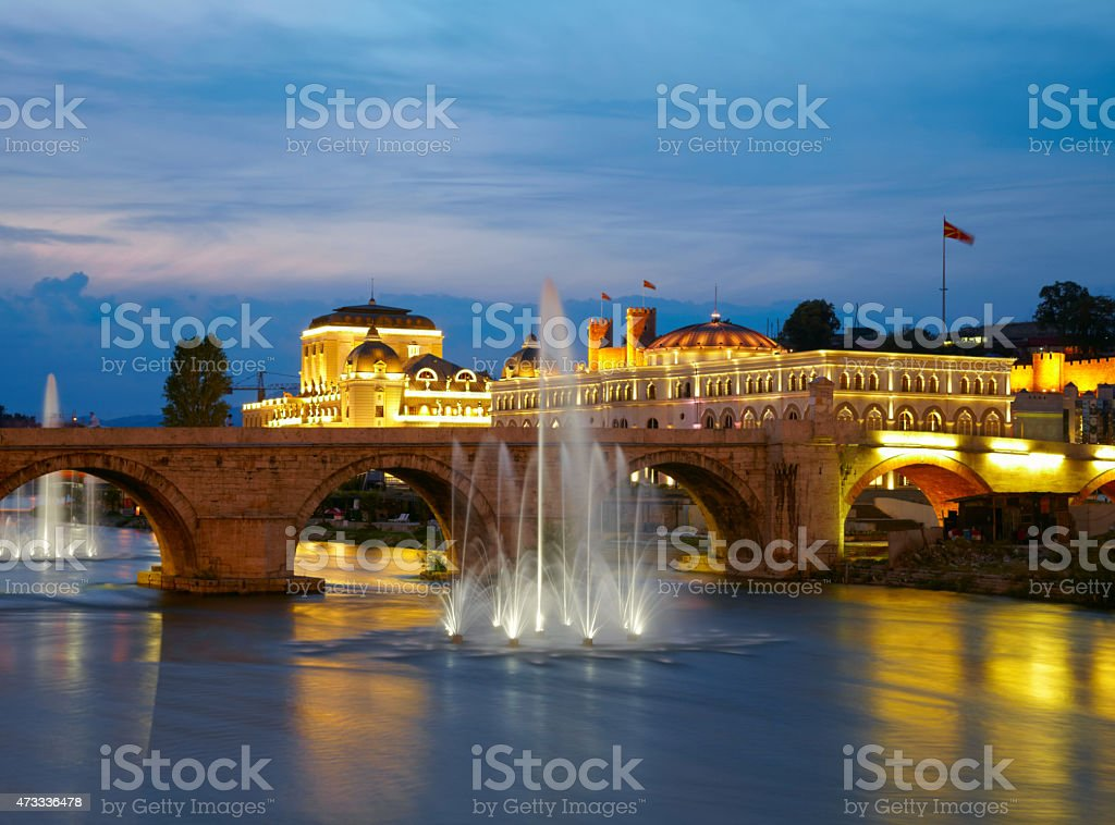 Macedonian's capital city Skopje. Old stone bridge stock photo