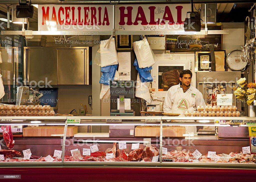 Macelleria Halal butcher stall, mercato centrale, Florence stock photo